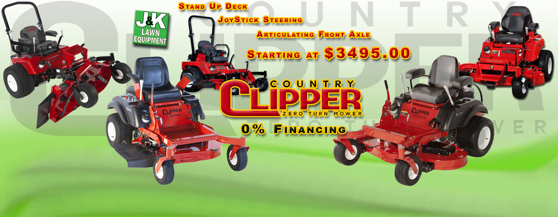 Country Clipper Zero Turn Mowers, J and K Lawn Equipment